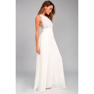 Lulus • Forever And Always Lace Maxi Dress White